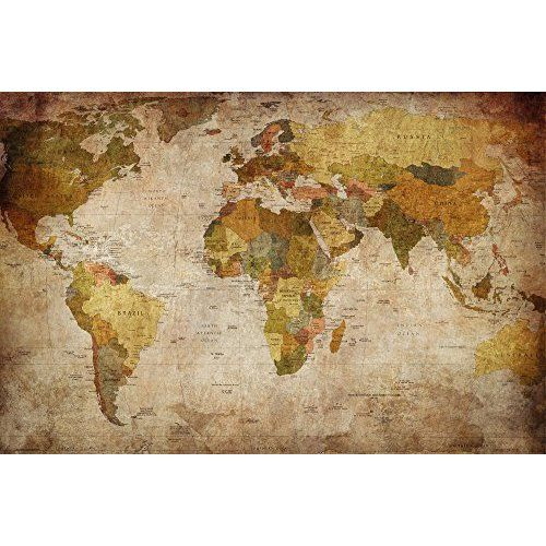 Poster used look wall picture decoration globe continents atlas poster used look wall picture decoration globe continents atlas world map earth geography retro old gumiabroncs Image collections
