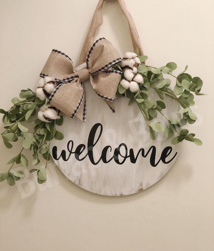 Photo of round wreath door hanger farmhouse wreath farmhouse decor wedding gift front door sign