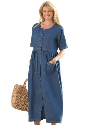 """For a simple, classic look, check out this plus size dress in denim, twill or khaki. The front buttons make this outfit easy to take off or put on and on hot days you could let a few buttonholes open at the top or bottom to make it even more breathable. The shirred empire waist will flatter a wide variety of shapes and sizes and the roomy pockets are great for storing personal items or as somewhere to just let your hands rest! One customer from Phoenix, Arizona testified, """"I am an old hipp…"""