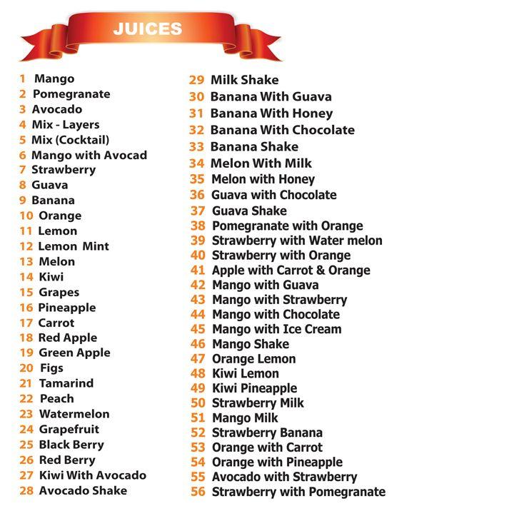Juice World Juices Menu