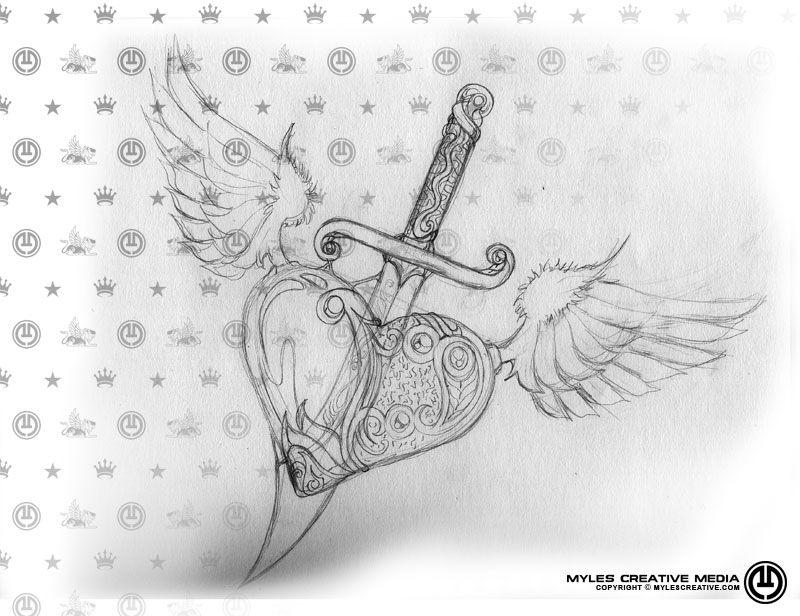Heart and Dagger sketch by Devon-Myles.deviantart.com