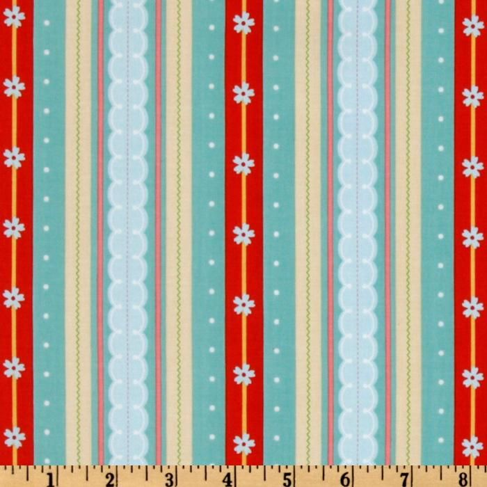 Delighted! Stripes Aqua/Red  Item Number: ER-158  Our Price: $8.48 per Yard  • Contents:  100% cotton  • Washing:  Machine Wash Cold / Tumble Dry Low  • Width:  44''