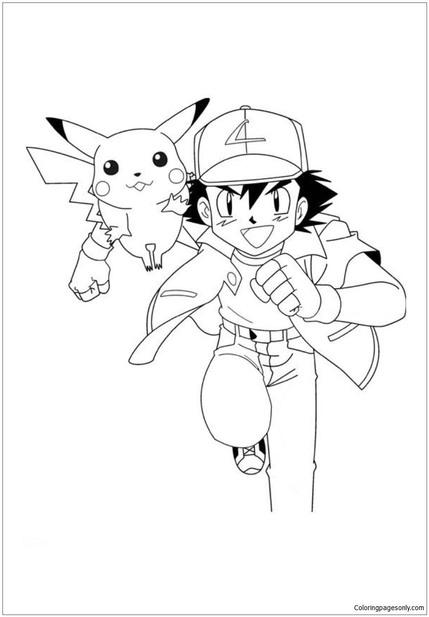 Pikachu With Ash Coloring Page  Pikachu coloring page, Pokemon