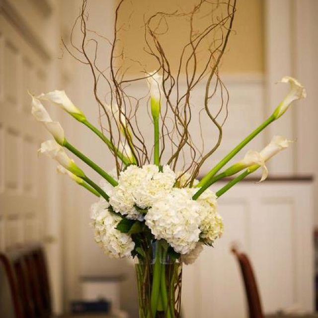Wedding Altar Branches: Altar Arrangement Of Large White Calla Lilies, Ivory