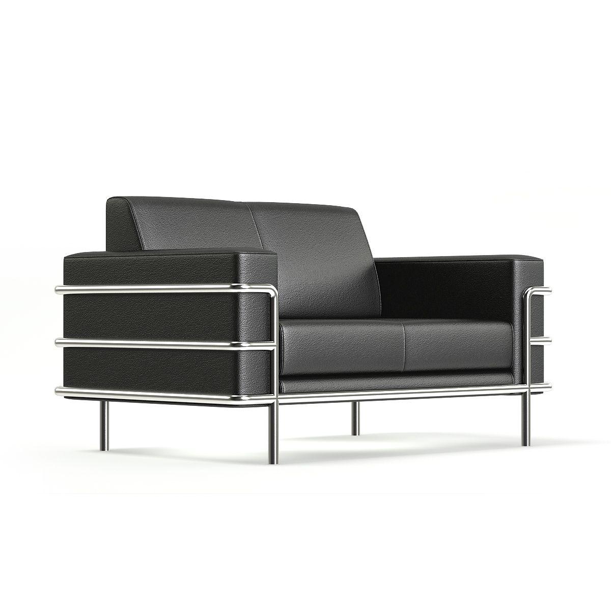 Black Leather Sofa 3d Model Leather Black Model Sofa