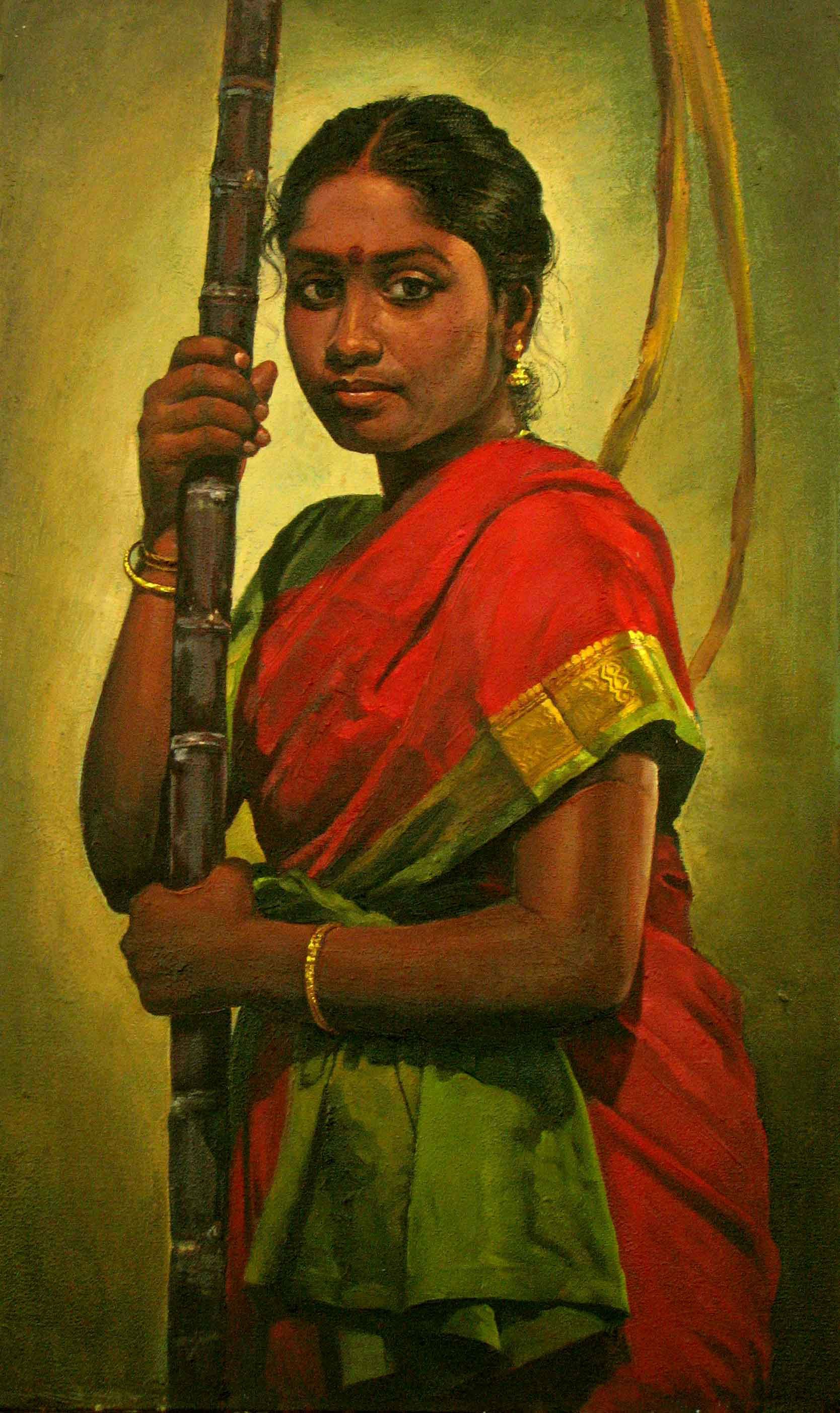 Tamil Girl With Sugarcane For Festival Painting By S Elayaraja Www Elayarajaartgallery Com India Art Indian Paintings Indian Women Painting