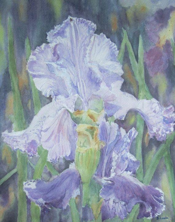 Iris Flower Watercolor Original Painting Purple Flower Watercolor