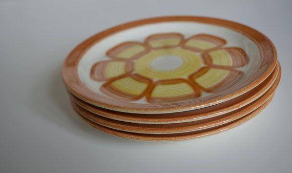 Vintage Orange and Yellow Ceramic Plates set by theskinnyvintage, $15.99