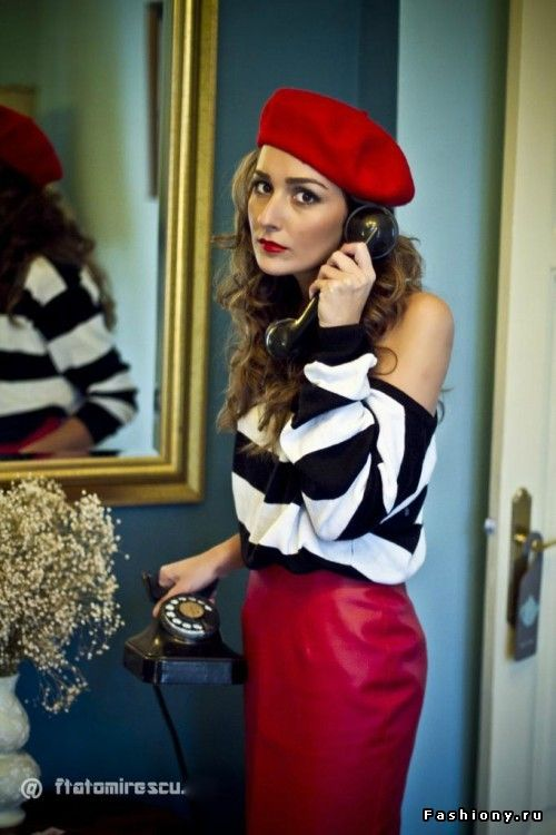 8bd66de1 French...thick striped, off shoulder sweater, lipstick red pencil skirt,  beret, and lipstick. #paris #fashion #whattowear #Sewcratic