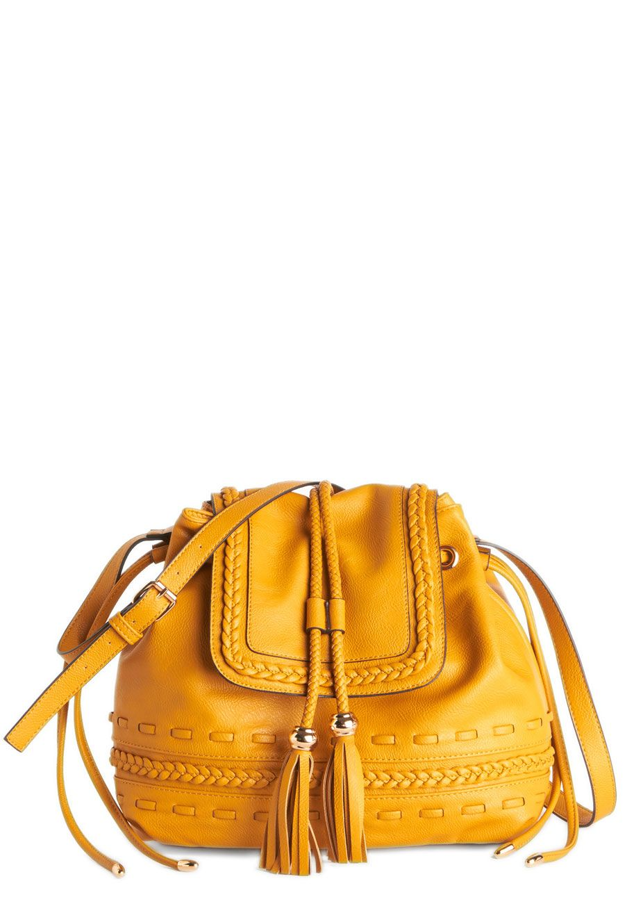 Scenic Seflie Bag in Mustard. Youve just found the most beautiful view of your city and simply must capture it with a quick pic or two! #yellow #modcloth