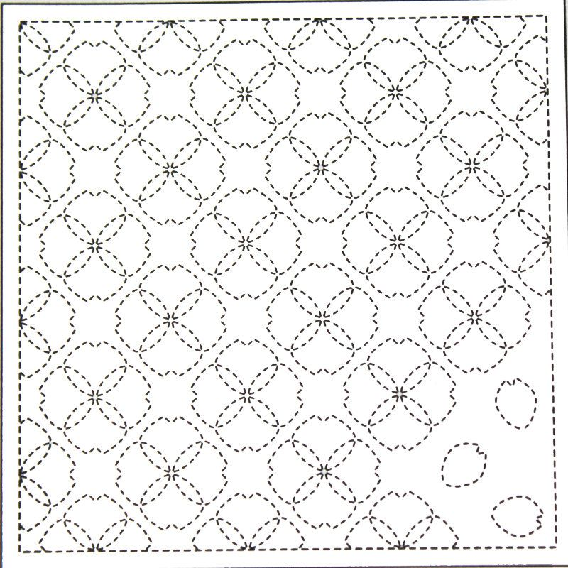 Flower Blossoms 58 White Sashiko Sampler by