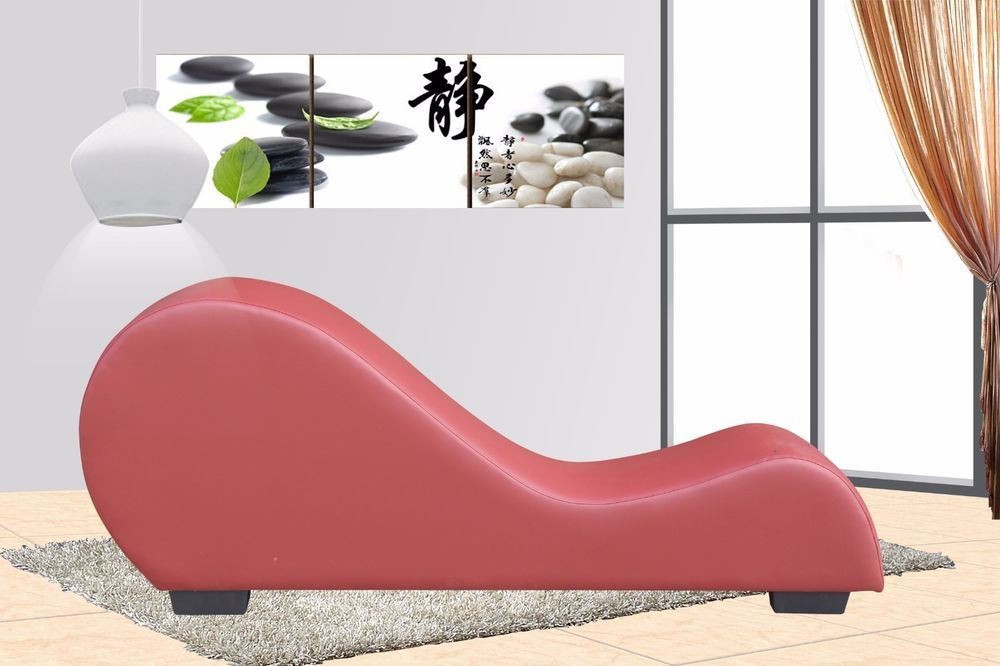 Red Faux Leather Yoga Chair Stretch Relax Sex Chair Chaise Love ...