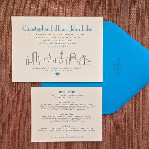 San Francisco Skyline #Wedding #Invitation / Details Enclosure Cards /  Horizontal 7x5 / Blue