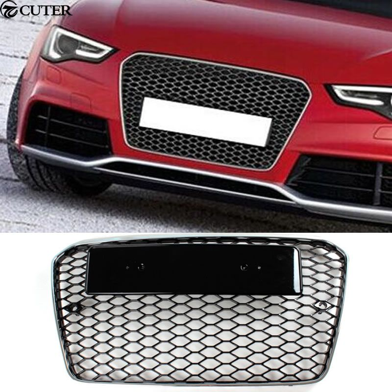 A5 Rs5 Racing Grills Chrome Frame Honeycomb Grille For Audi A5 Rs5 S5 Sline Front Bumper 12 14 Audi A5 Chrome Frame Audi