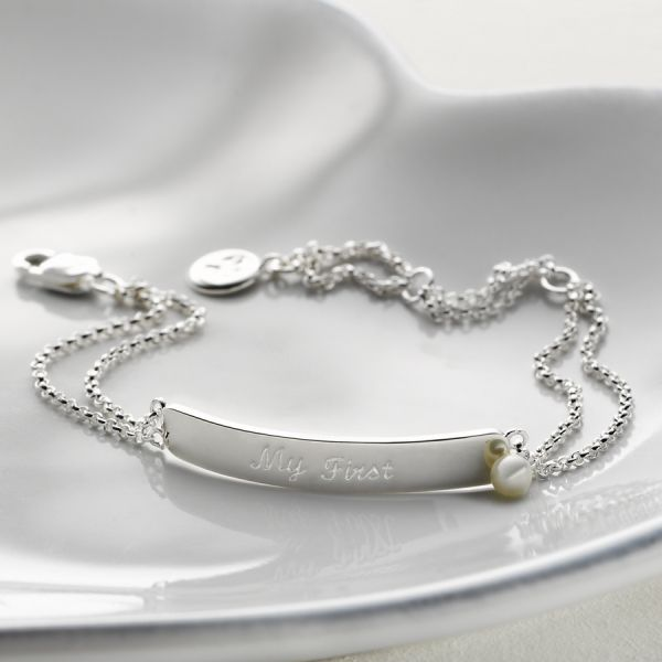 Molly Brown Personalised Sterling Silver Babys First Diamond Christening Bracelet 1st Birthday Gift /& Toddler Jewellery