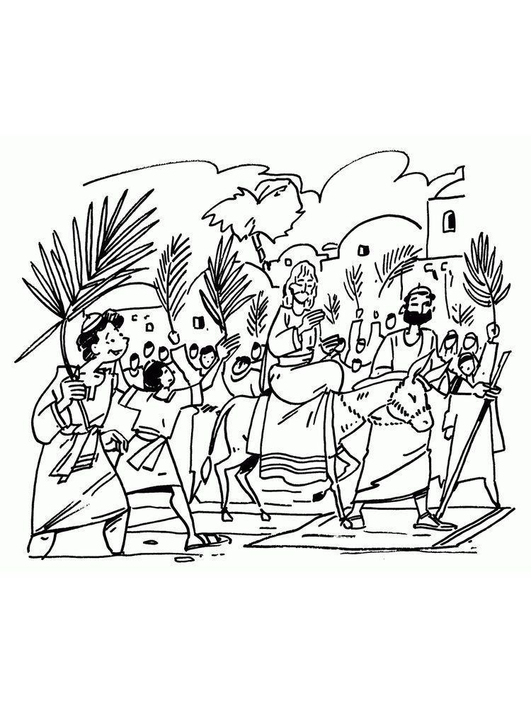 Bible Coloring Pages Palm Sunday (Dengan gambar)