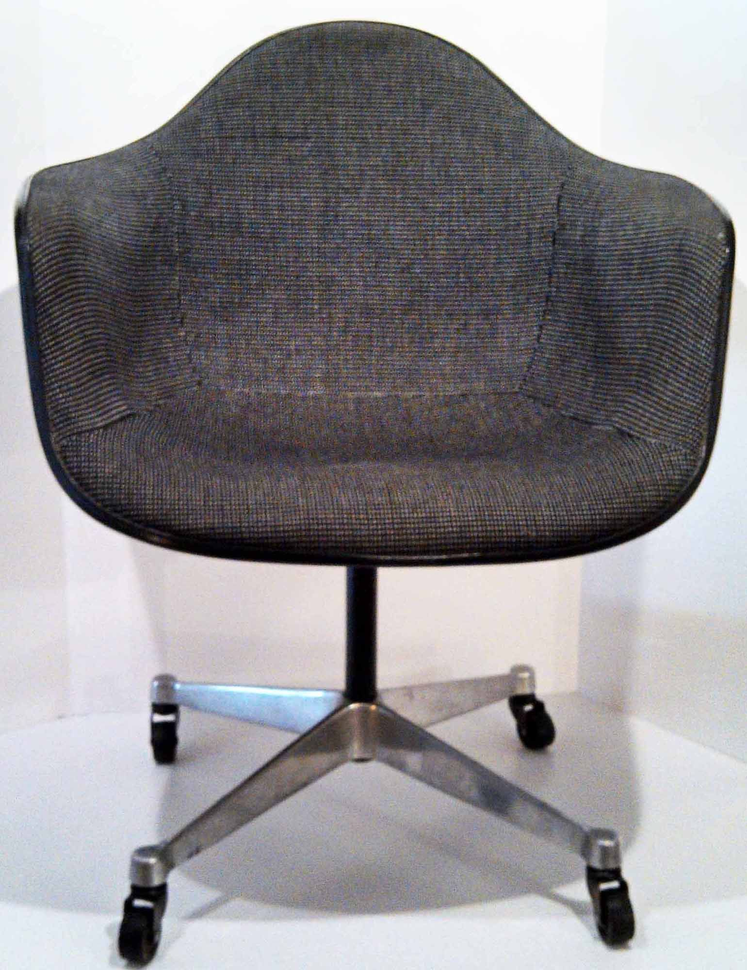 Fiberglass Shell Chair Tantra Plans Charles Eames Design Produced By Herman Miller Upholstered Cover Alexander Girard Aluminum Base With Castors And Swivels