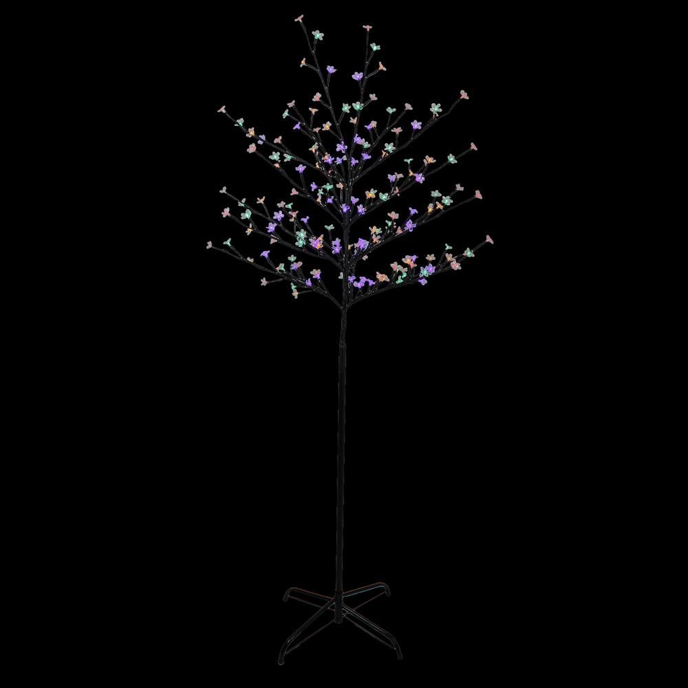 Northlight 6 Ft Multi Color Led Lighted Cherry Blossom Flower Artificial Tree 33681558 The Home Depot In 2021 Cherry Blossom Flowers Multi Color Led Artificial Tree