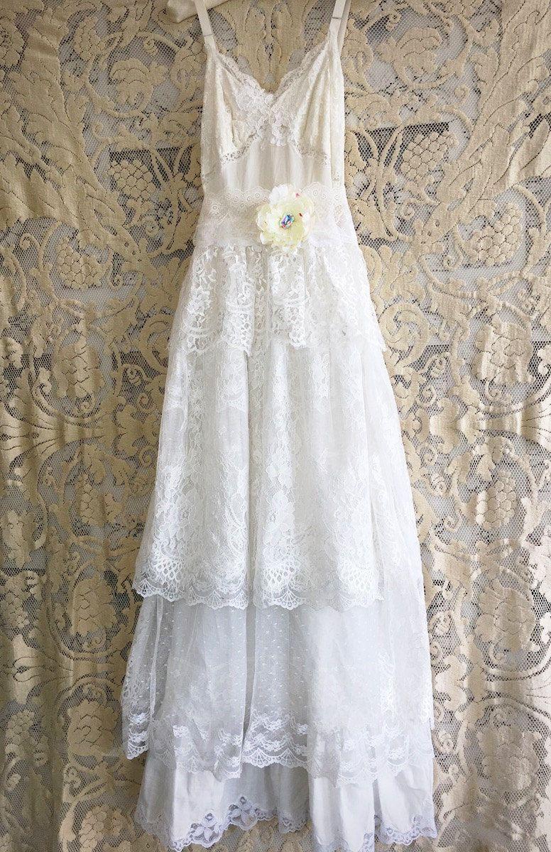 Ecru celadon taupe u cream cotton tiered eyelash lace boho wedding