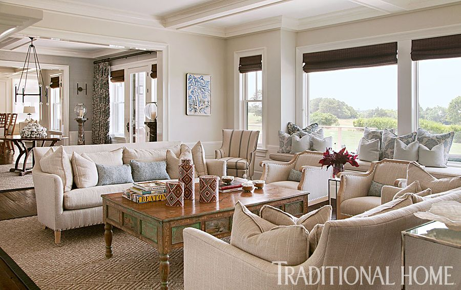 surprising new england style living room | Lovely New England Summer Home with Neutral Palette | Home ...