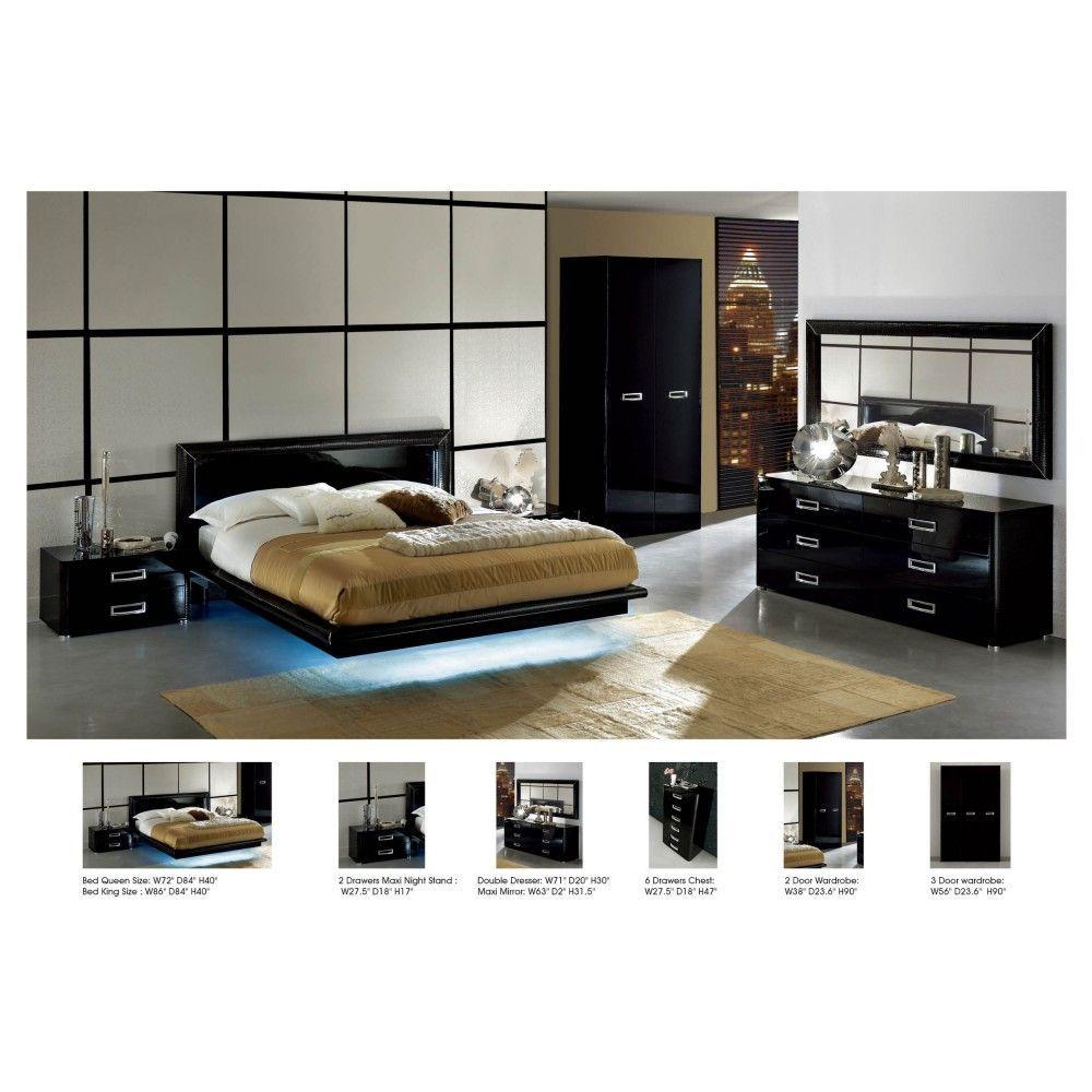 La Star Comp 5 Modern Bedroom Set In Black Queen Size Cool But