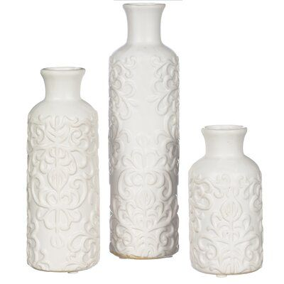 Canora Grey Smiley Scroll Embossed Ceramic 3 Piece Table Vase Set Recycled Glass Vases Table Vases Vase Set