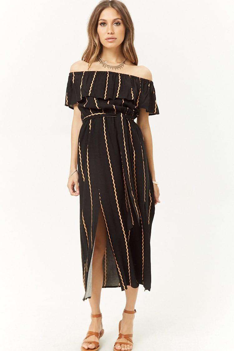6b3b5335a44 Striped M-Slit Off-the-Shoulder Maxi Dress
