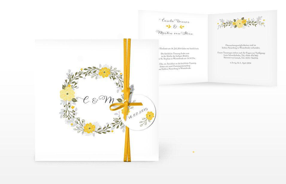 Einladung Zur Hochzeit Blumenkranz Pinterest Einladung Zur
