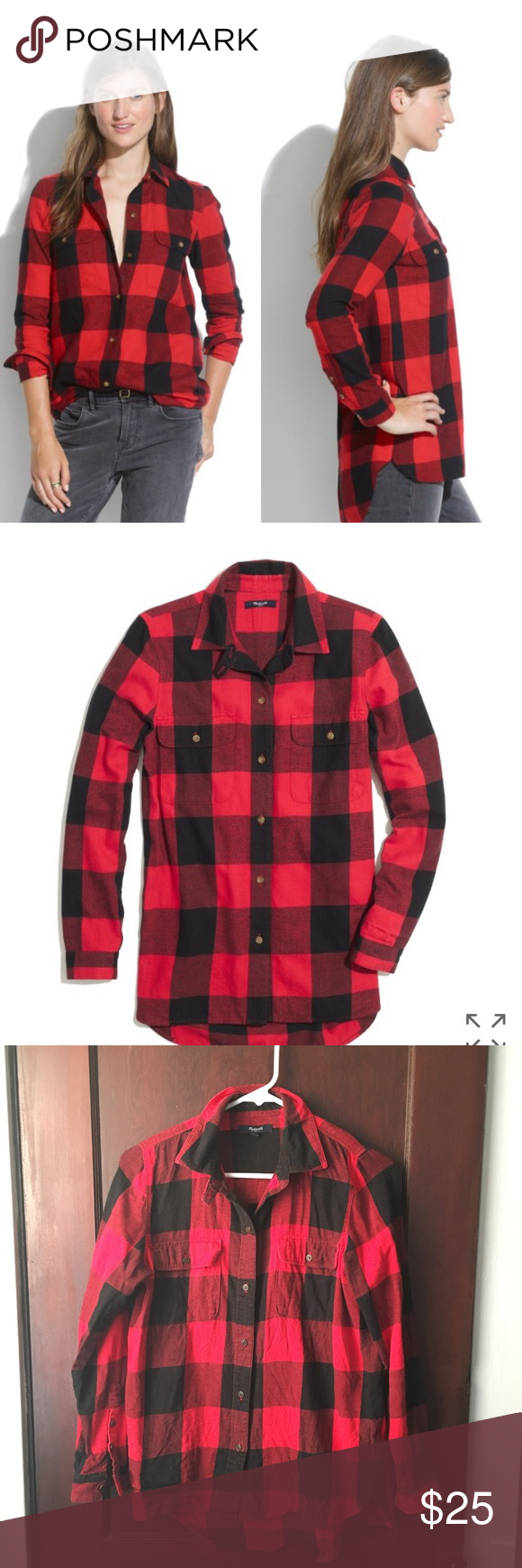 Red flannel fabric  Madewell  Flannel tomboy workshirt in check  Tomboy style Front