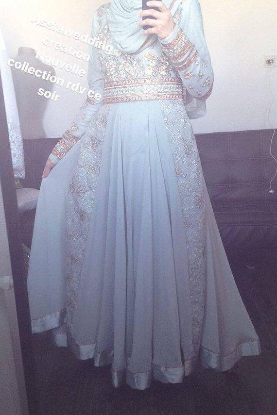 Kleid-Indian-Hijab Ärmeln langen grauen blauen neue Kollektion ...