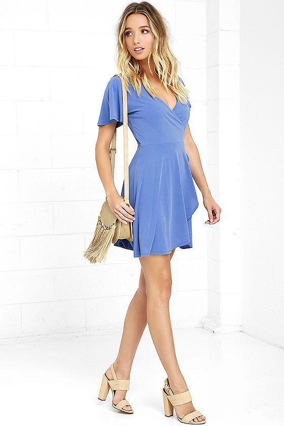 Here to Flirt Periwinkle Blue Wrap Dress