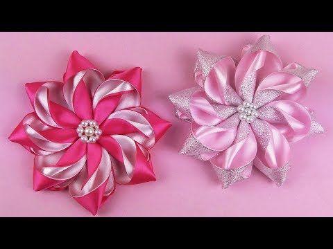 How To Make Kanzashi Flower I DIY Ribbon Flower - YouTube #ribbonflower