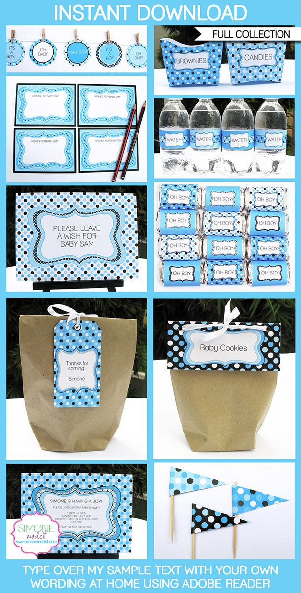 Baby shower printables invitations decorations boy polkadot boy baby shower printables invitations decorations blue birthday party editable diy filmwisefo