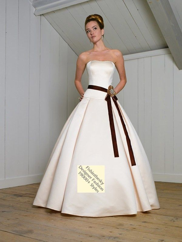 Ball Gown Strapless Hand-Made Flower Sleeveless Court Trains Satin Wedding Dresses For Brides