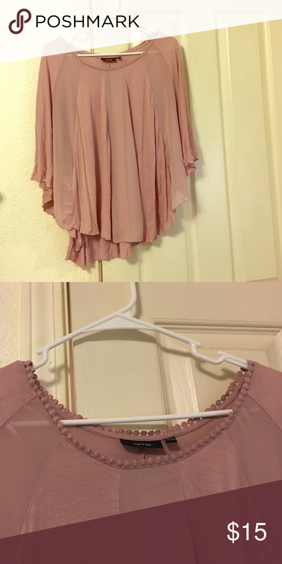 Butterfly sleeve top Rose/mauve colored butterfly style top, polyester material,shear and solid vertical seen segments in front, solid in back Tops Blouses