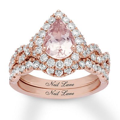 0cbcf1abad744 Neil Lane Morganite Bridal Set 1 ct tw Diamonds 14K Rose Gold ...