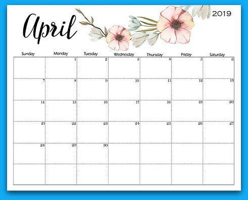 April 2019 Floral Printable Calendar 2019 Calendars April