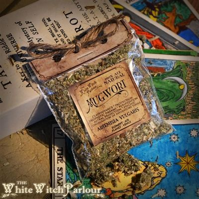 MUGWORT Magickal uses: Clairvoyance,Protection, Prophetic Dreams, Purification, Astral Projection, Psychic, Concetration of Divinatory Tools. * A must have herb for any witch or practitioner of divinatory craft. ELEMENT: Air PLANETS: Venus CHAKRAS : 6th- Third Eye
