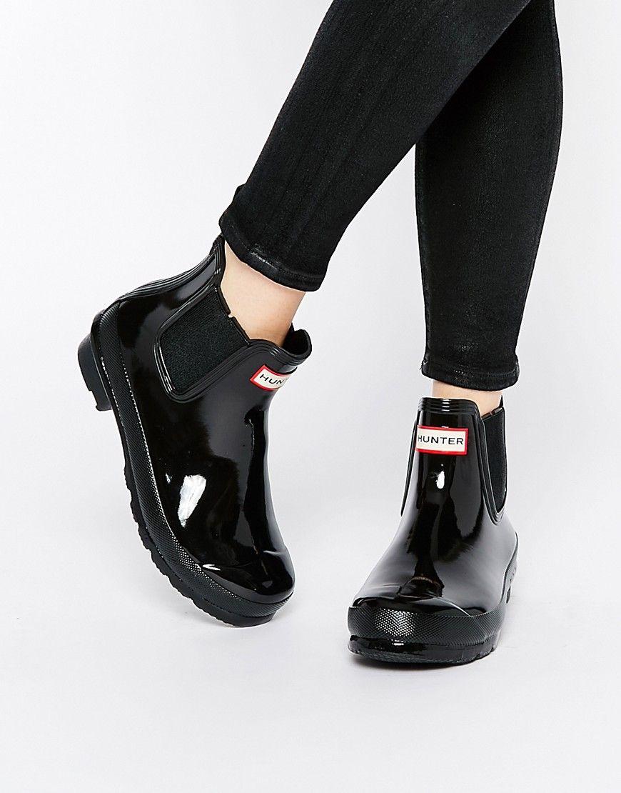 super cute e4827 54da6 Image 1 of Hunter Original Black Gloss Wellington Chelsea Boots