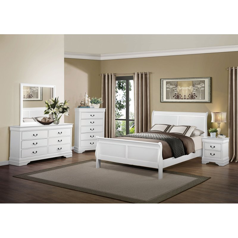 Classic Traditional White 4 Piece King Bedroom Set Mayville