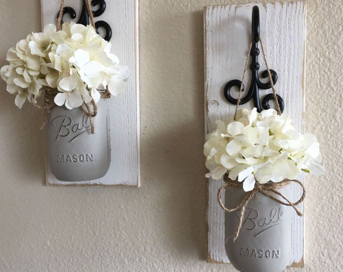 Items similar to mason jar wall decor country chic hanging sconce rustic housewarming  also set of mason decorcountry decorhanging rh pinterest
