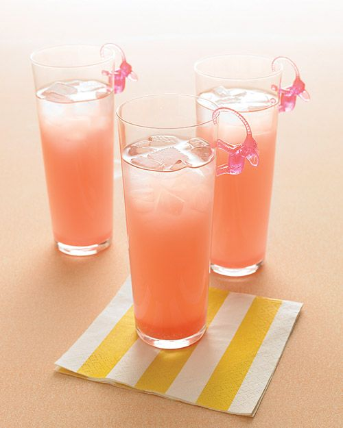 pink elephant cocktail:      Ingredients:    20 ounces vodka,    5 ounces fresh lime juice,    5 ounces fresh lemonade,    10 ounces grapefruit juice,    2 ounces cranberry juice,    Lime slices for garnish      Directions:  Mix all but the cranberry juice in a   2-1/2 quart pitcher. Add the cranberry juice until drink is light pink. Refrigerate until serving time. To serve, pour over ice into chilled 6-ounce glasses. Garnish with thin lime slices (or pink plastic elephants).  Makes 6-8…