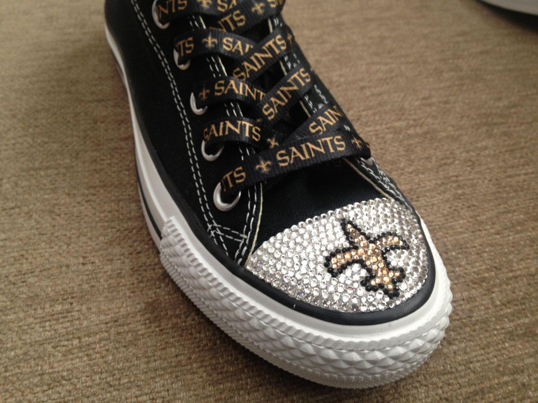 e8e0308b012cf Blinged Converse NFL Saints shoes by TeamMomBling on Etsy