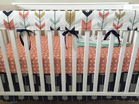 Nursery Bedding Set Coral Navy And Mint Arrows And Aztec