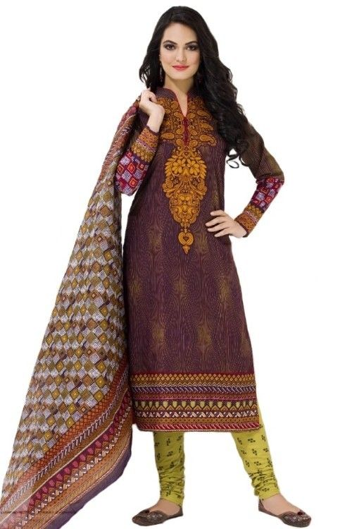 9db7f16f78 Brown - Yellow Cotton Printed Dress Material - 447 | Designer Ladies ...