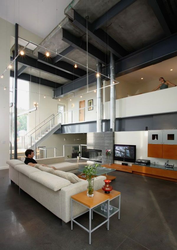 House · Interior With Exposed Metal Beams ...