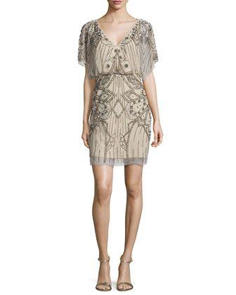 a36ea9ae814 Short-Sleeve Sequined   Beaded Blouson Dress by Aidan Mattox at Neiman  Marcus.