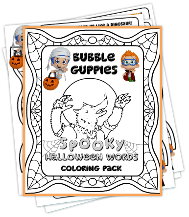 Bubble Guppies Spooky Words Coloring Pack Nick Jr Spooky Words Halloween Words Bubble Guppies