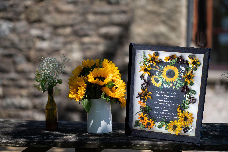 Sunflower Themed Wedding Invitation Keepsake Gift for