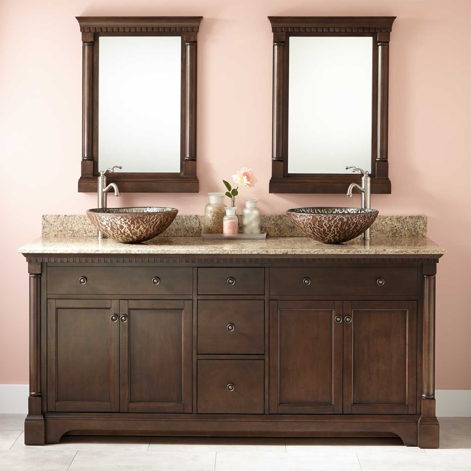 72 Claudia Double Vessel Sink Vanity Antique Coffee Bathroom